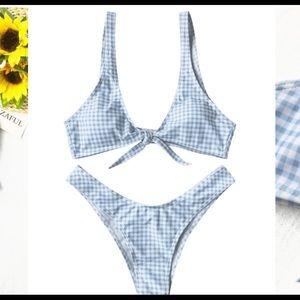 Blue plaid bikini